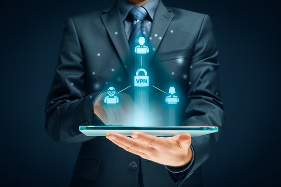 Computer users connected via virtual private network (vpn). Private network security concept.